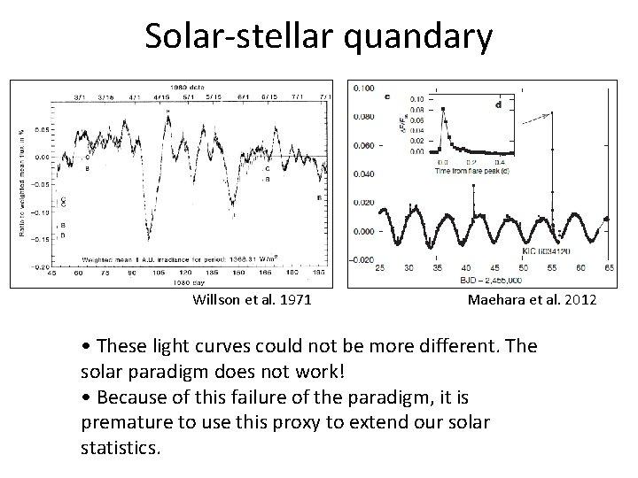 Solar-stellar quandary Willson et al. 1971 Maehara et al. 2012 • These light curves