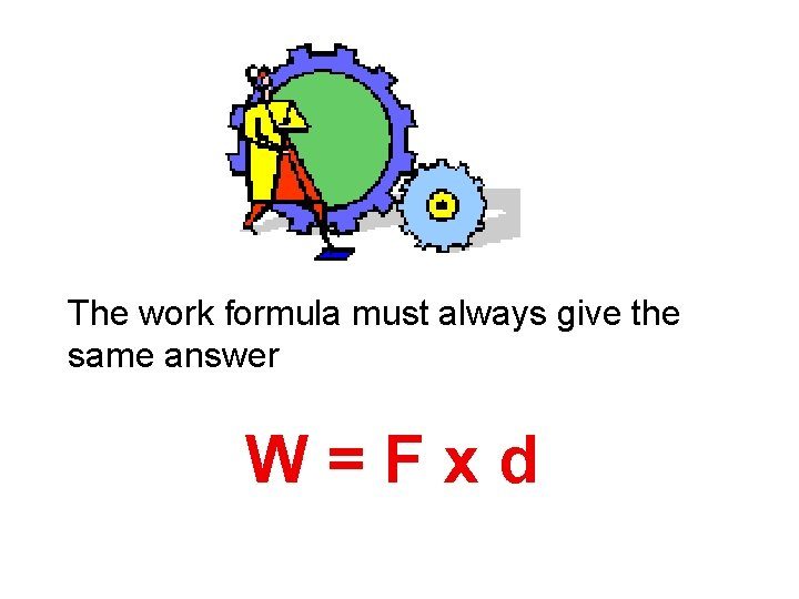 The work formula must always give the same answer W=Fxd