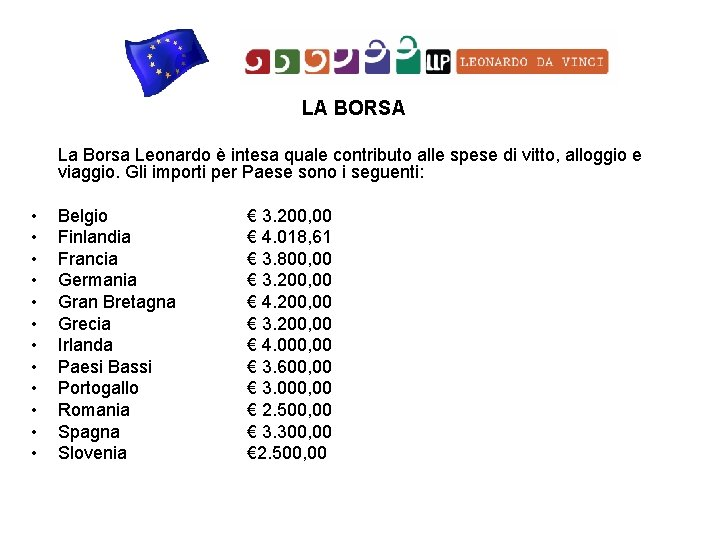 LA BORSA La Borsa Leonardo è intesa quale contributo alle spese di vitto, alloggio