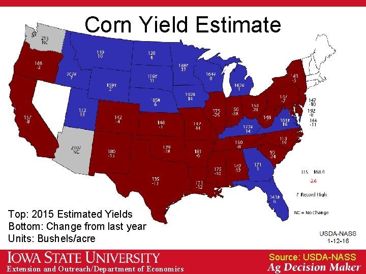 Corn Yield Estimate Top: 2015 Estimated Yields Bottom: Change from last year Units: Bushels/acre