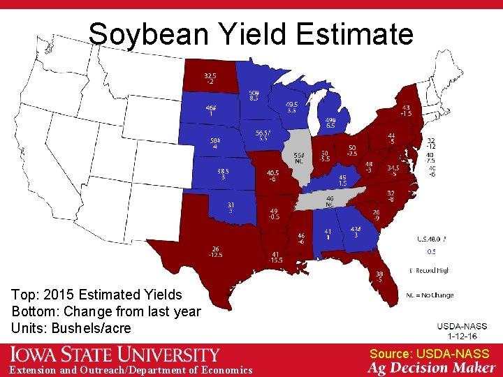 Soybean Yield Estimate Top: 2015 Estimated Yields Bottom: Change from last year Units: Bushels/acre