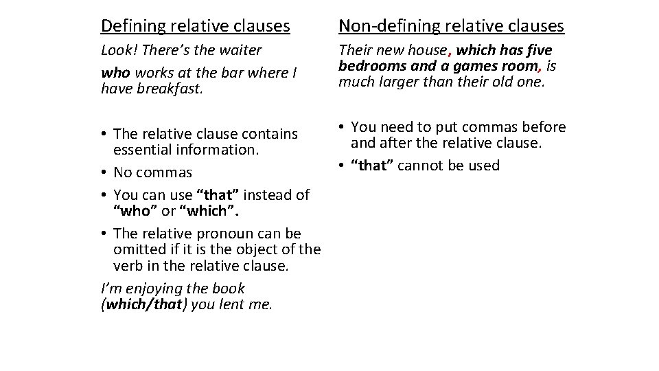 Defining relative clauses Non-defining relative clauses Look! There's the waiter who works at the