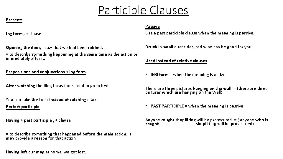 Present: Participle Clauses Ing form , + clause Opening the door, I saw that