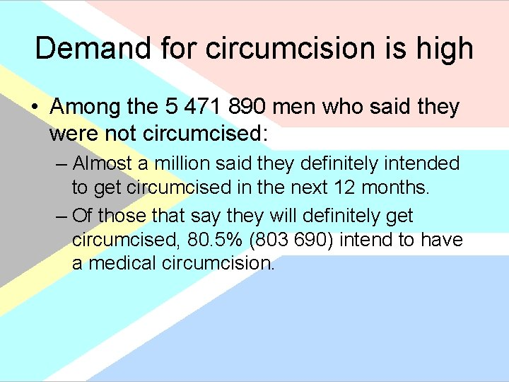 Demand for circumcision is high • Among the 5 471 890 men who said