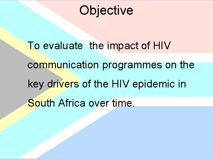 Objective To evaluate the impact of HIV communication programmes on the key drivers of