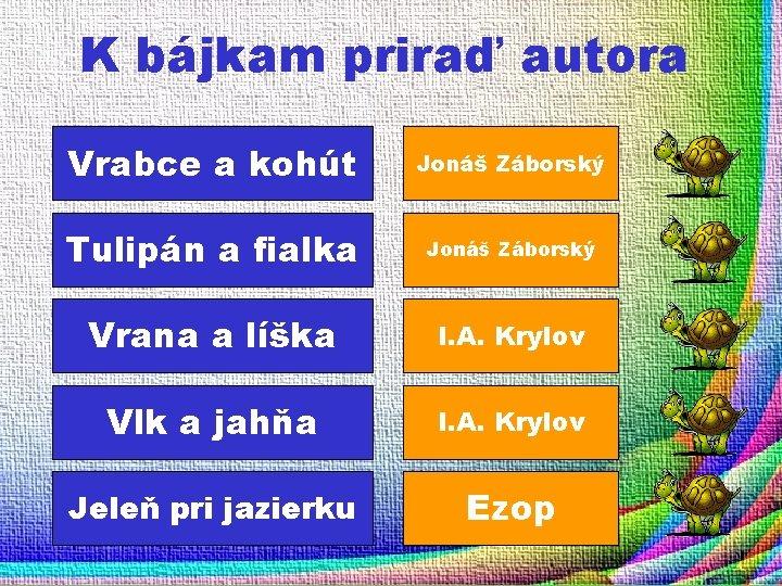 K bájkam priraď autora Vrabce a kohút Jonáš Záborský Tulipán a fialka Jonáš Záborský