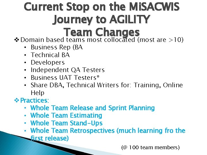 Current Stop on the Mi. SACWIS Journey to AGILITY Team Changes v Domain based