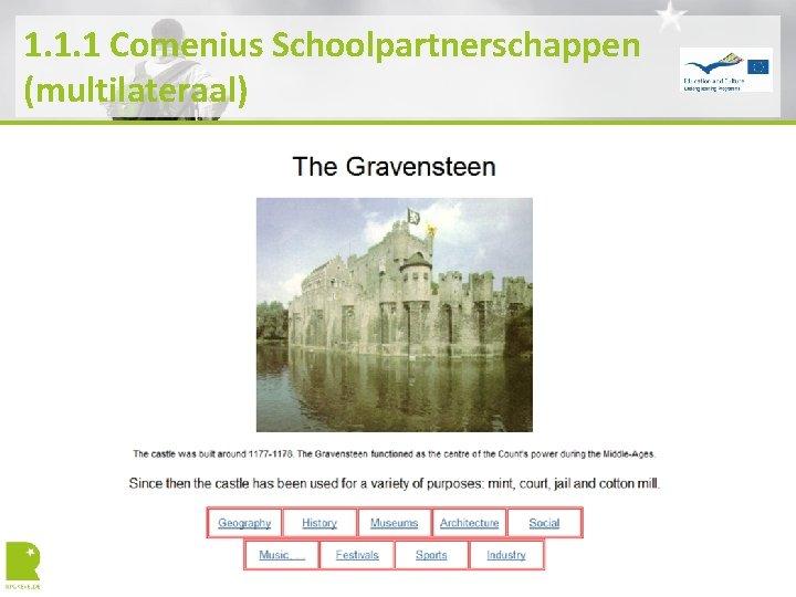 1. 1. 1 Comenius Schoolpartnerschappen (multilateraal)