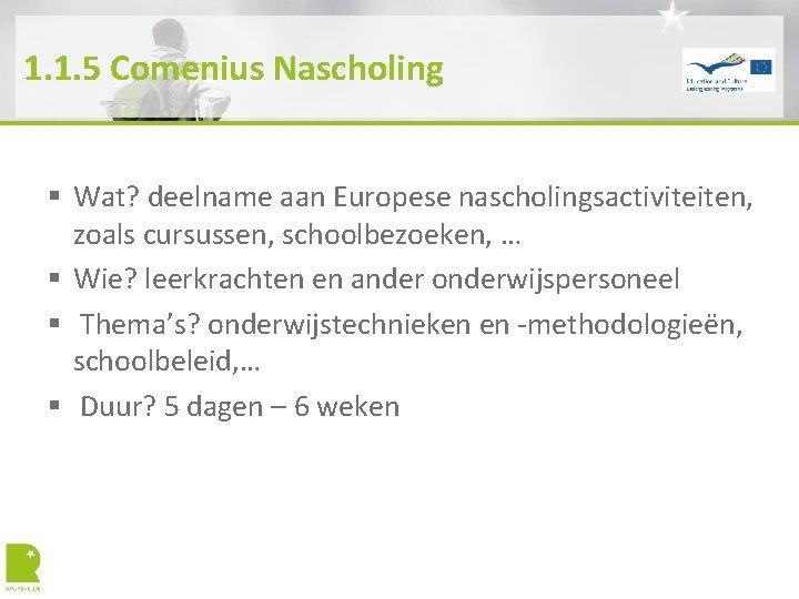 1. 1. 5 Comenius Nascholing § Wat? deelname aan Europese nascholingsactiviteiten, zoals cursussen, schoolbezoeken,