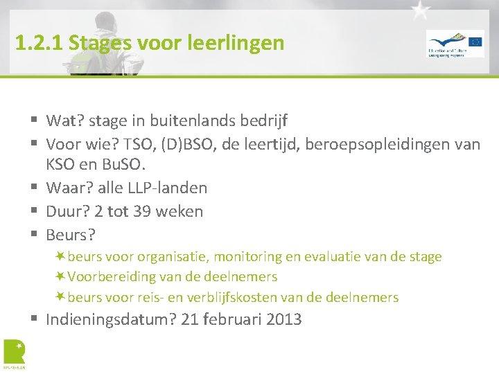 1. 2. 1 Stages voor leerlingen § Wat? stage in buitenlands bedrijf § Voor