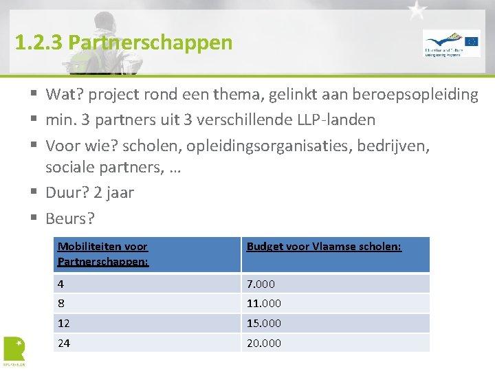1. 2. 3 Partnerschappen § Wat? project rond een thema, gelinkt aan beroepsopleiding §