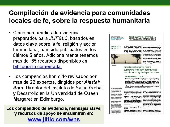 Compilación de evidencia para comunidades locales de fe, sobre la respuesta humanitaria • Cinco