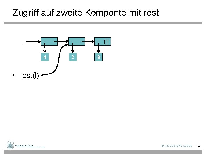 Zugriff auf zweite Komponte mit rest l [] 4 2 9 • rest(l) 13