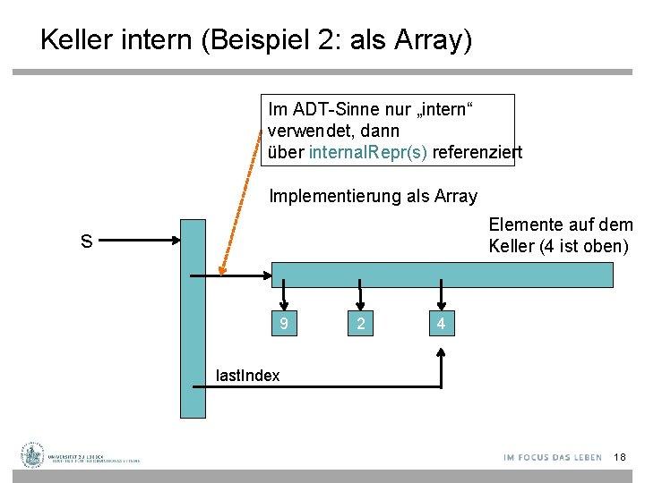 """Keller intern (Beispiel 2: als Array) Im ADT-Sinne nur """"intern"""" verwendet, dann über internal."""
