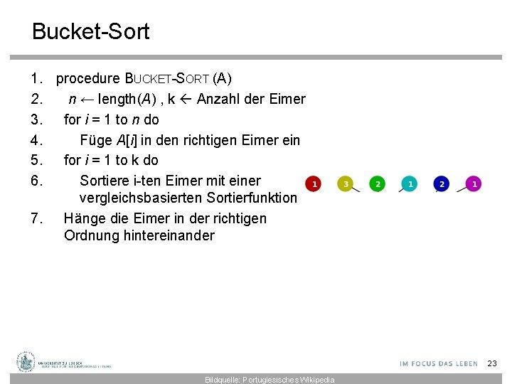 Bucket-Sort 1. procedure BUCKET-SORT (A) 2. n ← length(A) , k Anzahl der Eimer