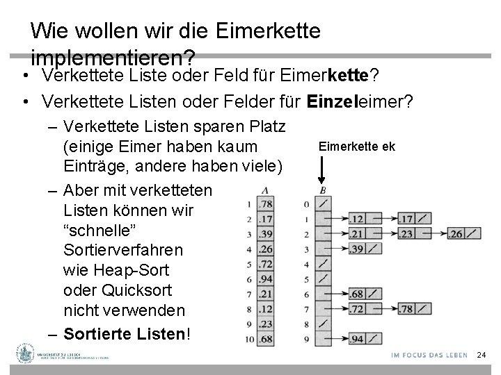 Wie wollen wir die Eimerkette implementieren? • Verkettete Liste oder Feld für Eimerkette? •