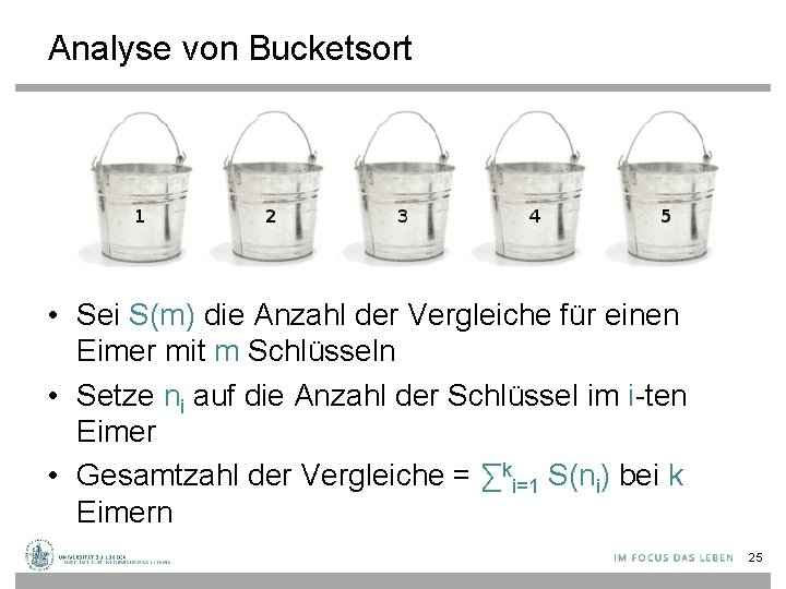 Analyse von Bucketsort • Sei S(m) die Anzahl der Vergleiche für einen Eimer mit