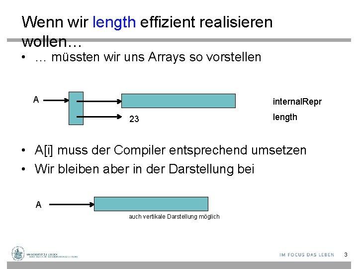Wenn wir length effizient realisieren wollen… • … müssten wir uns Arrays so vorstellen