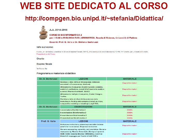 WEB SITE DEDICATO AL CORSO http: //compgen. bio. unipd. it/~stefania/Didattica/