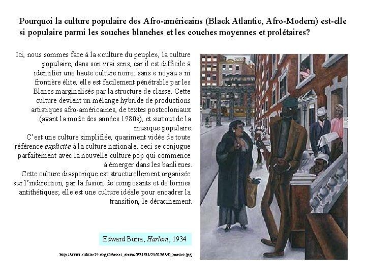 Pourquoi la culture populaire des Afro-américains (Black Atlantic, Afro-Modern) est-elle si populaire parmi les