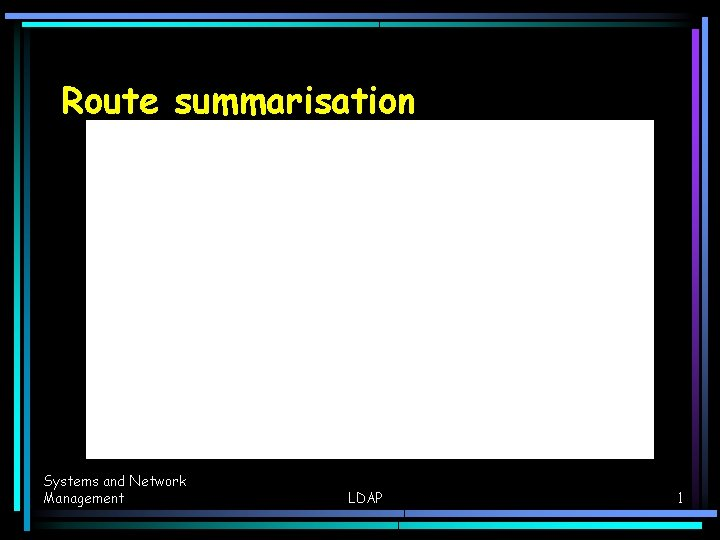 Route summarisation Systems and Network Management LDAP 1
