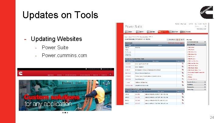 Updates on Tools - Updating Websites - Power Suite - Power. cummins. com 24