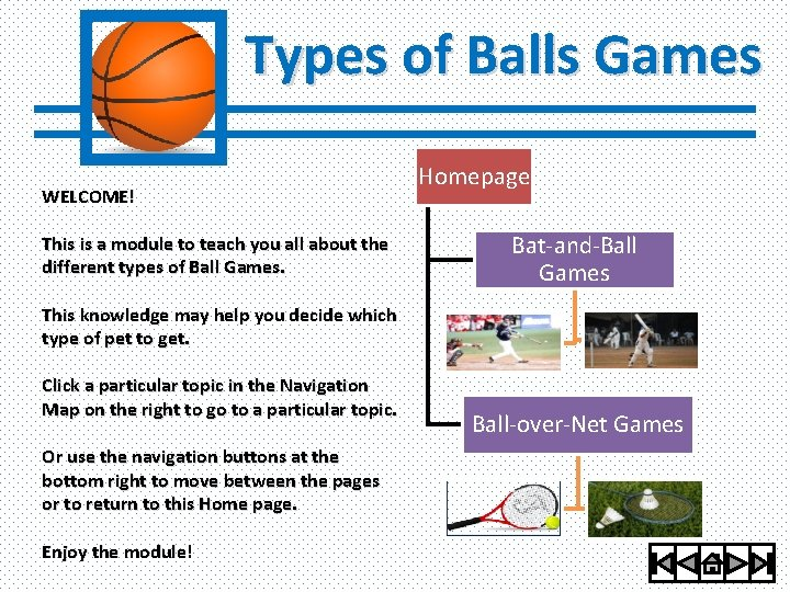 Types of Balls Games WELCOME! This is a module to teach you all about