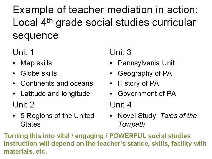 Example of teacher mediation in action: Local 4 th grade social studies curricular sequence