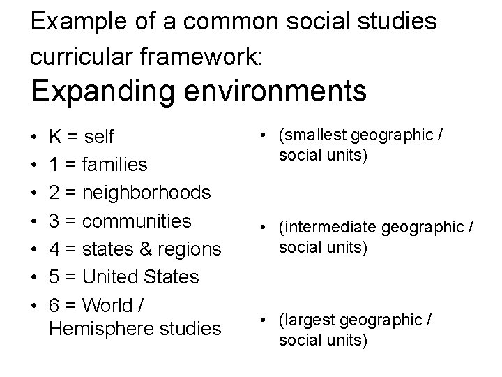 Example of a common social studies curricular framework: Expanding environments • • K =