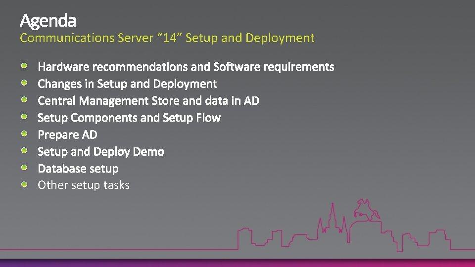 """Communications Server """" 14"""" Setup and Deployment Other setup tasks"""