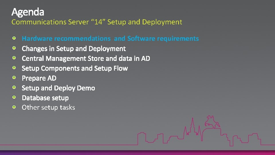 """Communications Server """" 14"""" Setup and Deployment Hardware recommendations and Software requirements Other setup"""