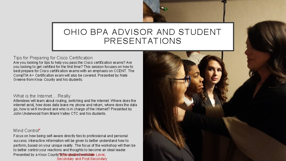 OHIO BPA ADVISOR AND STUDENT PRESENTATIONS Tips for Preparing for Cisco Certification Are you