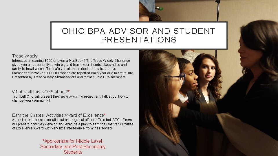 OHIO BPA ADVISOR AND STUDENT PRESENTATIONS Tread Wisely Interested in earning $500 or even