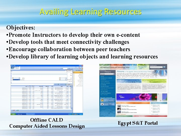 Availing Learning Resources Objectives: • Promote Instructors to develop their own e-content • Develop