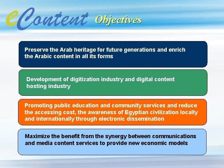 Objectives Preserve the Arab heritage for future generations and enrich the Arabic content in