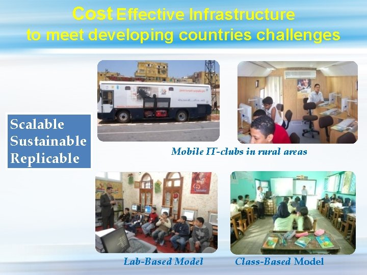 Cost Effective Infrastructure to meet developing countries challenges Scalable Sustainable Replicable Mobile IT-clubs in