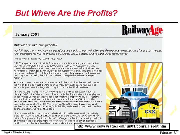 But Where Are the Profits? January 2001 http: //www. railwayage. com/jun 01/conrail_split. html Copyright