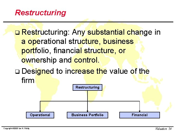 Restructuring q Restructuring: Any substantial change in a operational structure, business portfolio, financial structure,
