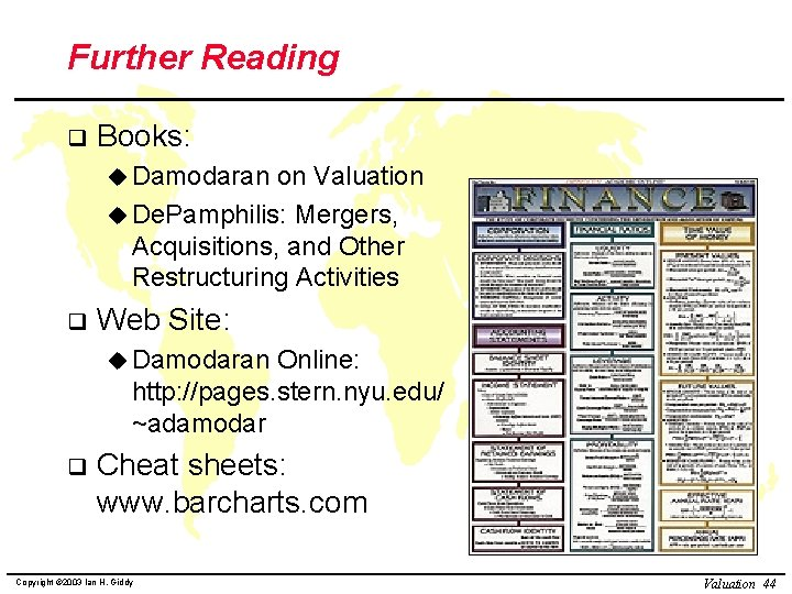 Further Reading q Books: u Damodaran on Valuation u De. Pamphilis: Mergers, Acquisitions, and