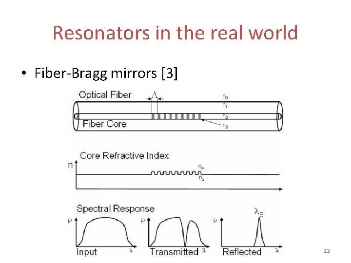 Resonators in the real world • Fiber-Bragg mirrors [3] 12