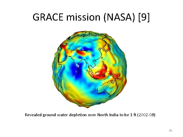 GRACE mission (NASA) [9] Revealed ground water depletion over North India to be 1