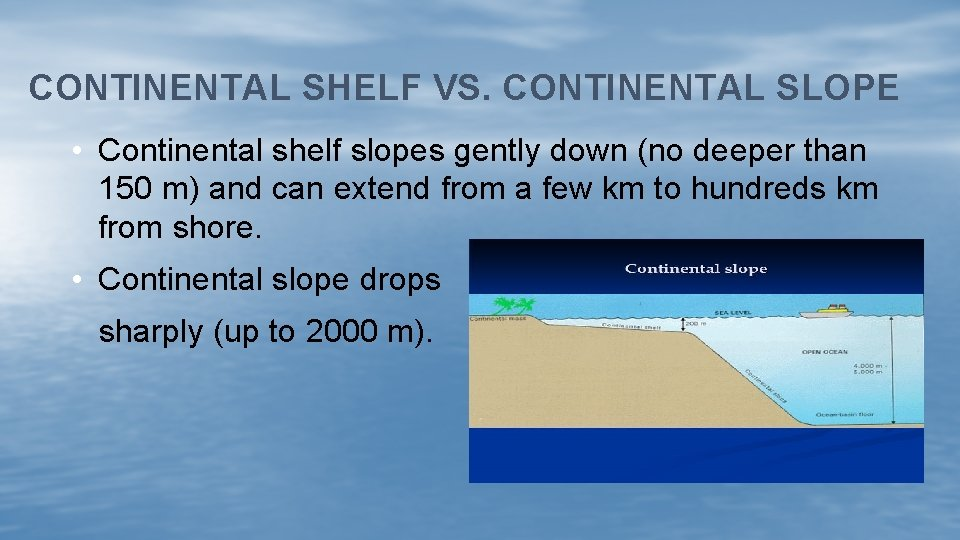 CONTINENTAL SHELF VS. CONTINENTAL SLOPE • Continental shelf slopes gently down (no deeper than