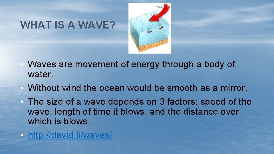 WHAT IS A WAVE? • Waves are movement of energy through a body of