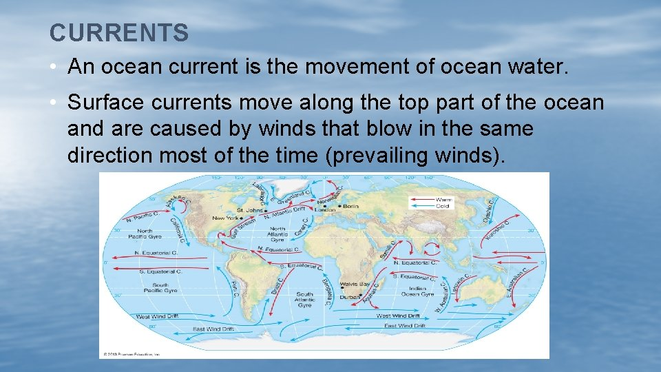 CURRENTS • An ocean current is the movement of ocean water. • Surface currents
