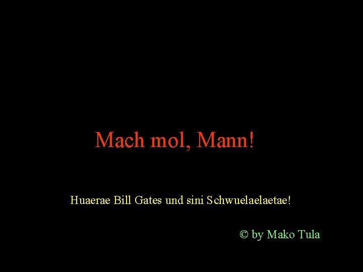 Mach mol, Mann! Huaerae Bill Gates und sini Schwuelaelaetae! © by Mako Tula