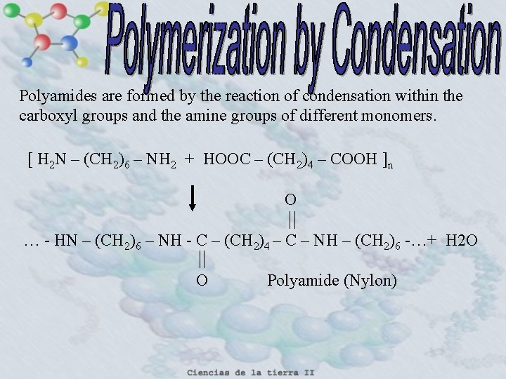 Polyamides are formed by the reaction of condensation within the carboxyl groups and the