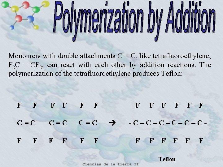 Monomers with double attachments C = C, like tetrafluoroethylene, F 2 C = CF