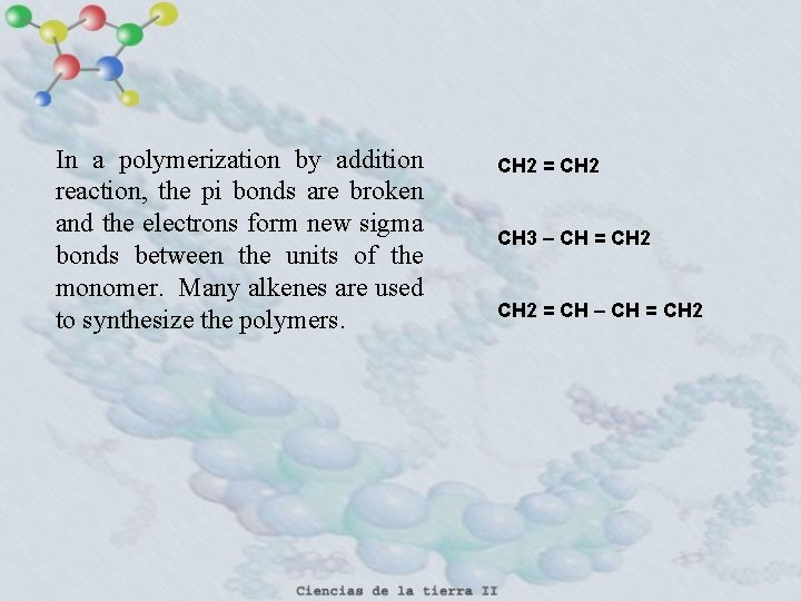 In a polymerization by addition reaction, the pi bonds are broken and the electrons