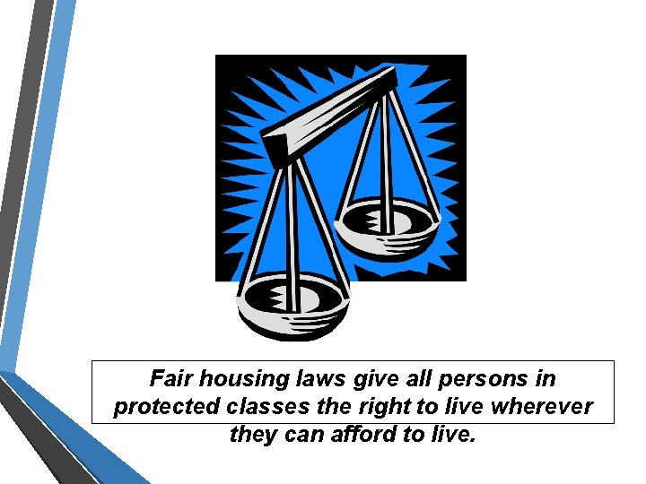 Fair housing laws give all persons in protected classes the right to live wherever