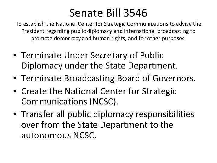 Senate Bill 3546 To establish the National Center for Strategic Communications to advise the